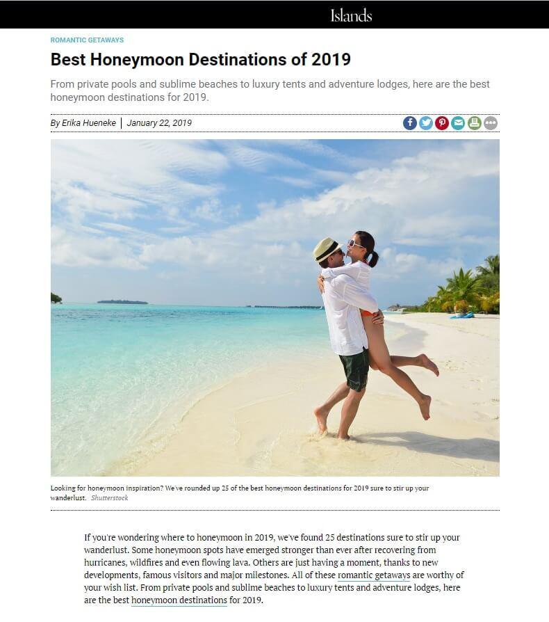 Best Honeymoon Destinations of 2019