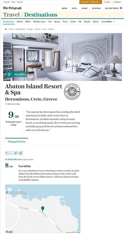 9/10 review for Abaton Island Resort & Spa