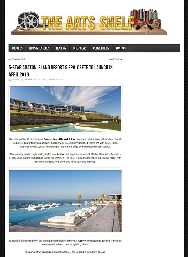 5-star Abaton Island Resort & Spa, Crete to launch in April 2018
